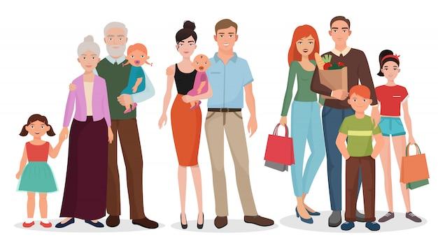 Heureuse famille détaillée couples avec bébé kid set.