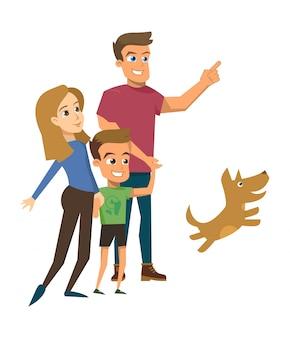 Heureuse famille marche isolé concept vecteur plat