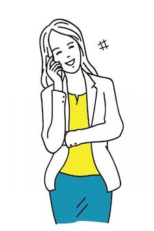 Heureuse femme d'affaires, parler au téléphone
