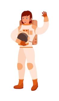 Heureuse femme astronaute souriante en scaphandre avec casque