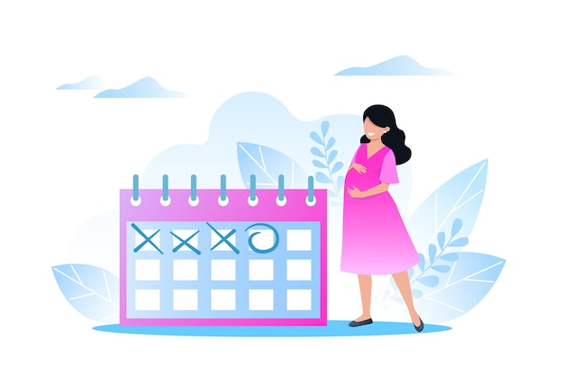 Heureuse femme enceinte se tient près du calendrier, attendant le jour de l'accouchement, femme enceinte