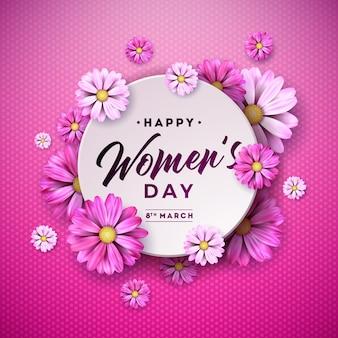 Heureuse femme jour floral illustration avec fleur