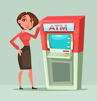 Heureuse femme souriante de gestionnaire de consultant bancaire debout à côté de guichet automatique. illustration de dessin animé plat