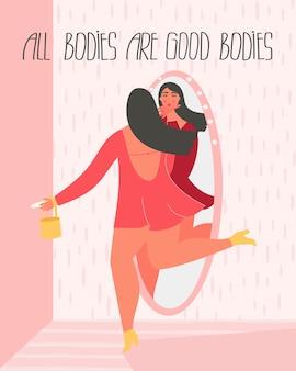 Heureuse femme taille plus en robe rouge regardant miroir avec texte tous les corps sont de bons corps.