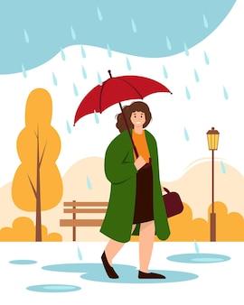 Heureuse femme vêtue d'un manteau avec parapluie dans le parc concept de temps de pluie d'automne