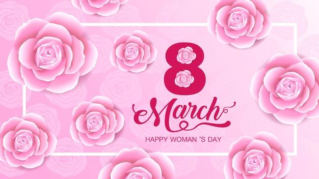 Heureuse fête des femmes, 8 mars, fond de fleurs.