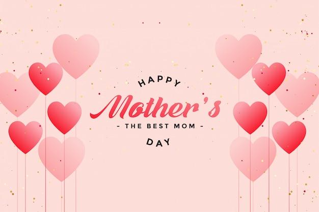 Heureuse fête des mères ballon coeurs salutation