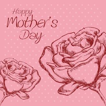 Heureuse fête des mères fleur roses à pois