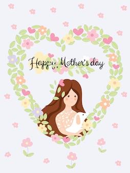 Heureuse fête des mères avec jolie fille tenant chien sur les fleurs et les feuilles en fond de forme de coeur