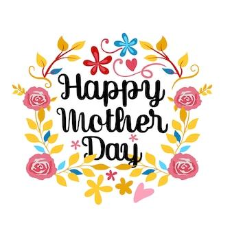 Heureuse fête des mères lettrage sur un blanc