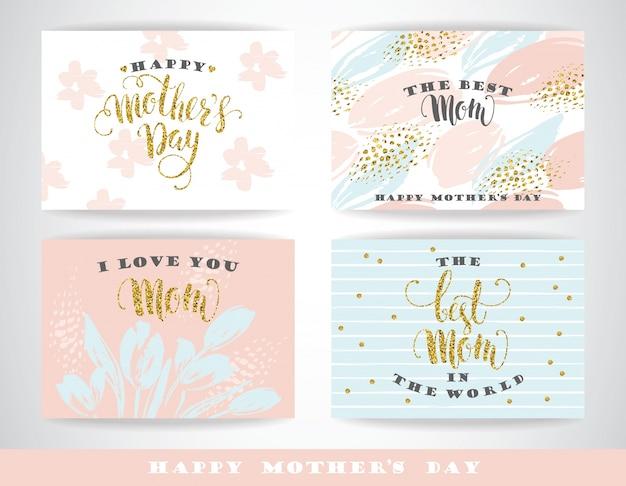 Heureuse fête des mères, lettrage des cartes de voeux avec des fleurs