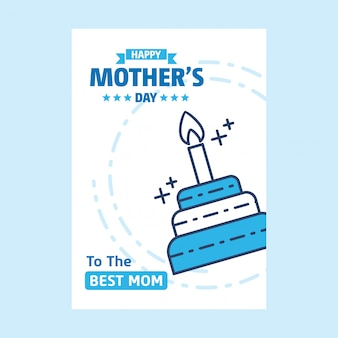 Heureuse fête des mères lettrage fond bleu
