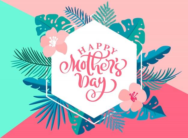 Heureuse fête des mères main lettrage coeur texte avec de belles fleurs