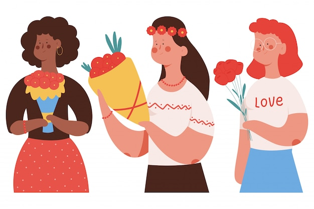 Heureuse fête des mères vector illustration de concept de dessin animé avec jolie femme avec bouquet de fleurs.