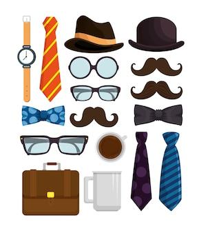 Heureuse fête des pères définir des icônes d'accessoires
