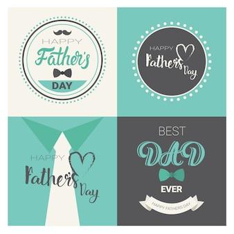 Heureuse fête des pères en famille, collection de cartes de voeux rétro