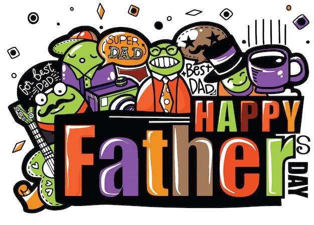 Heureuse fête des pères illustration dessinée isolée avec texte