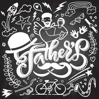 Heureuse fête des pères illustration dessinée à la main isolée avec texte. ensemble de dessins de griffonnage dessinés à la main