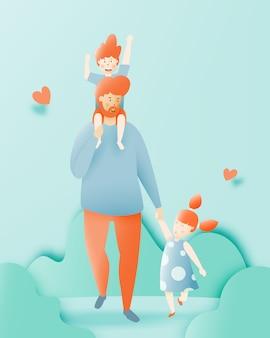 Heureuse fête des pères avec père et fils et sa fille avec illustration vectorielle art pastel et papier