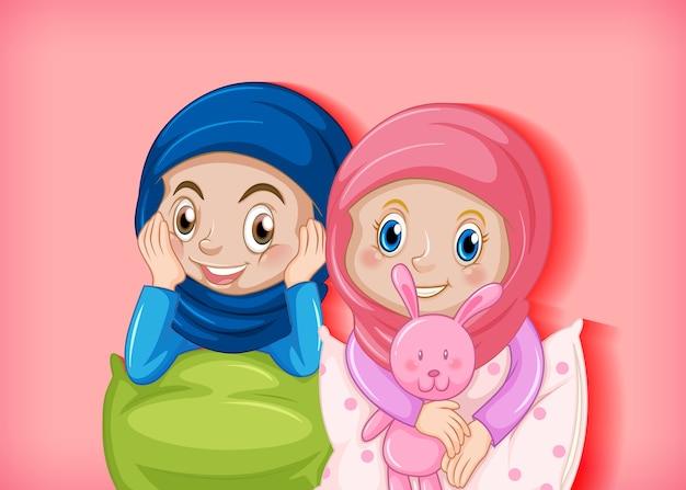 Heureuse fille musulmane en pyjama