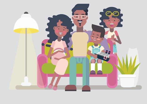 Heureuse grande famille américaine afro