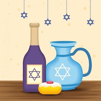 Heureuse illustration de hanukkah avec bouteille de vin et théière