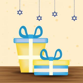 Heureuse illustration de hanukkah avec des cadeaux et des étoiles suspendues