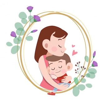 Heureuse illustration vectorielle de fête des mères carte salutation