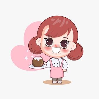 Heureuse jolie fille barista servant une illustration d'art de dessin animé de cappuccino