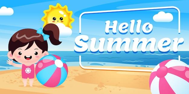 Heureuse jolie fille tenant un ballon de plage avec une bannière de voeux d'été