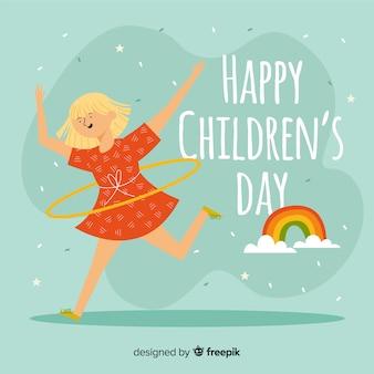 Heureuse journée des enfants au design plat