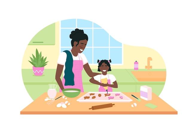 Heureuse mère et fille afro-américaine cuire des cookies bannière web 2d, affiche