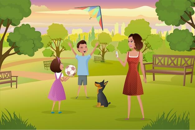 Heureuse mère jouant avec des enfants dans le vecteur de parc de la ville