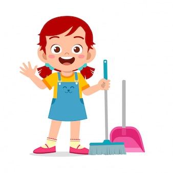 Heureuse mignonne petite fille enfant balayant l'illustration du sol