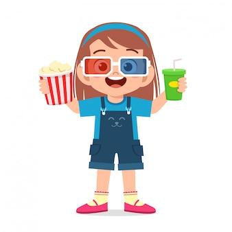 Heureuse mignonne petite fille enfant porte des lunettes 3d