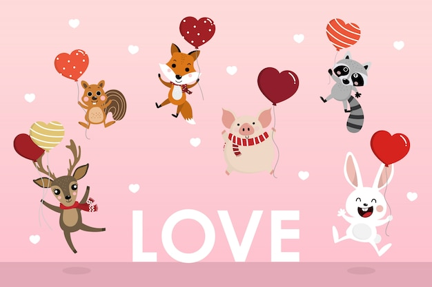 Heureuse saint-valentin carte de voeux avec animal mignon tenir les ballons de coeur.