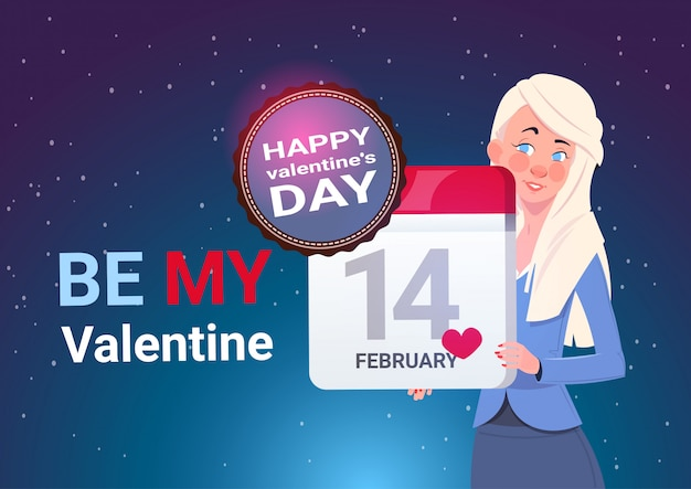 Heureuse saint-valentin concept bannière jeune fille tenant un calendrier page 14 février