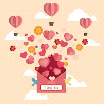 Heureuse saint valentin design fond illustration