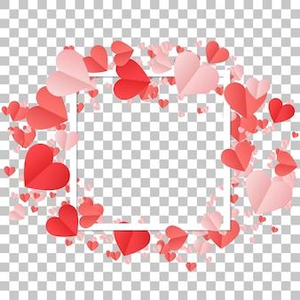 Heureuse saint valentin et éléments de conception de mariage cadre avec des coeurs