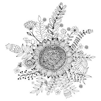 Heureuse saint-valentin avec fleur doodle bouquet coloring book style vector.