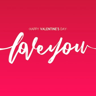 Heureuse saint valentin avec main dessiner texte d'amour