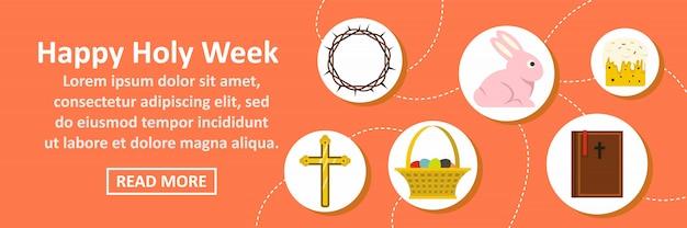 Heureuse semaine sainte bannière modèle horizontal concept