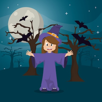 Heureuse sorcière portant chapeau et arbre avec des chauves-souris