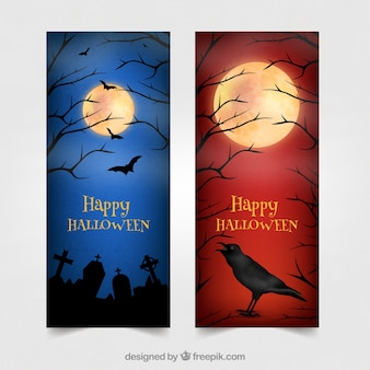 Heureuses bannières d'aquarelle halloween avec corbeau et cimetière