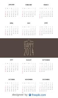 Heureux 2,014 calendrier