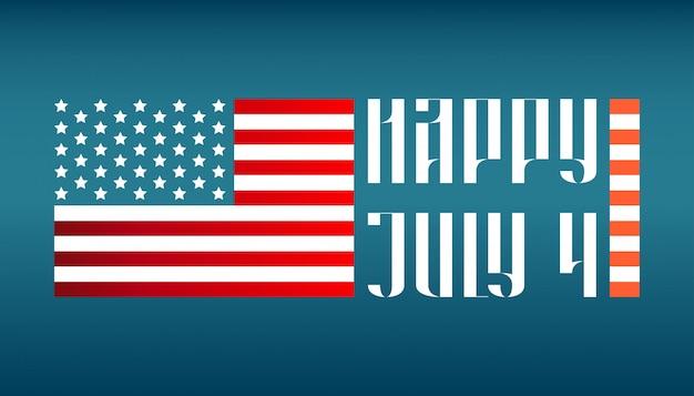 Heureux 4 juillet lettrage traditionnel avec drapeau américain