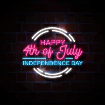 Heureux, 4 juillet, néon, style, signe, illustration
