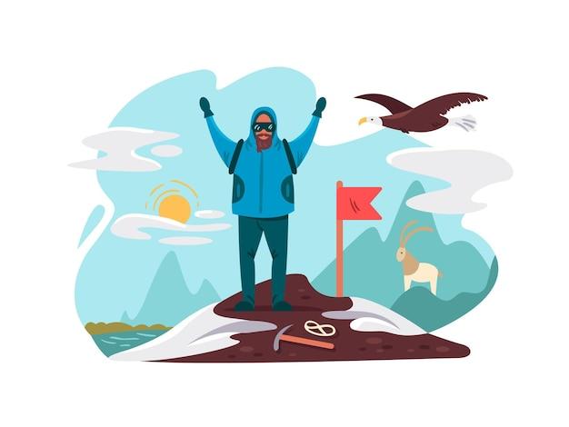 Heureux alpiniste au sommet de la montagne. illustration vectorielle plane de réalisation de l'objectif