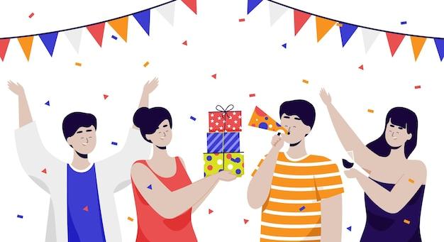 Heureux ami célébrant la fête ensemble