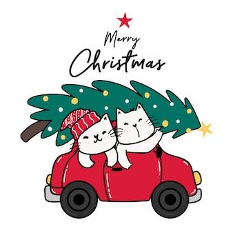 Heureux ami chat en voiture rouge avec sapin de noël sur le dessus, joyeux noël, dessin animé mignon de chat